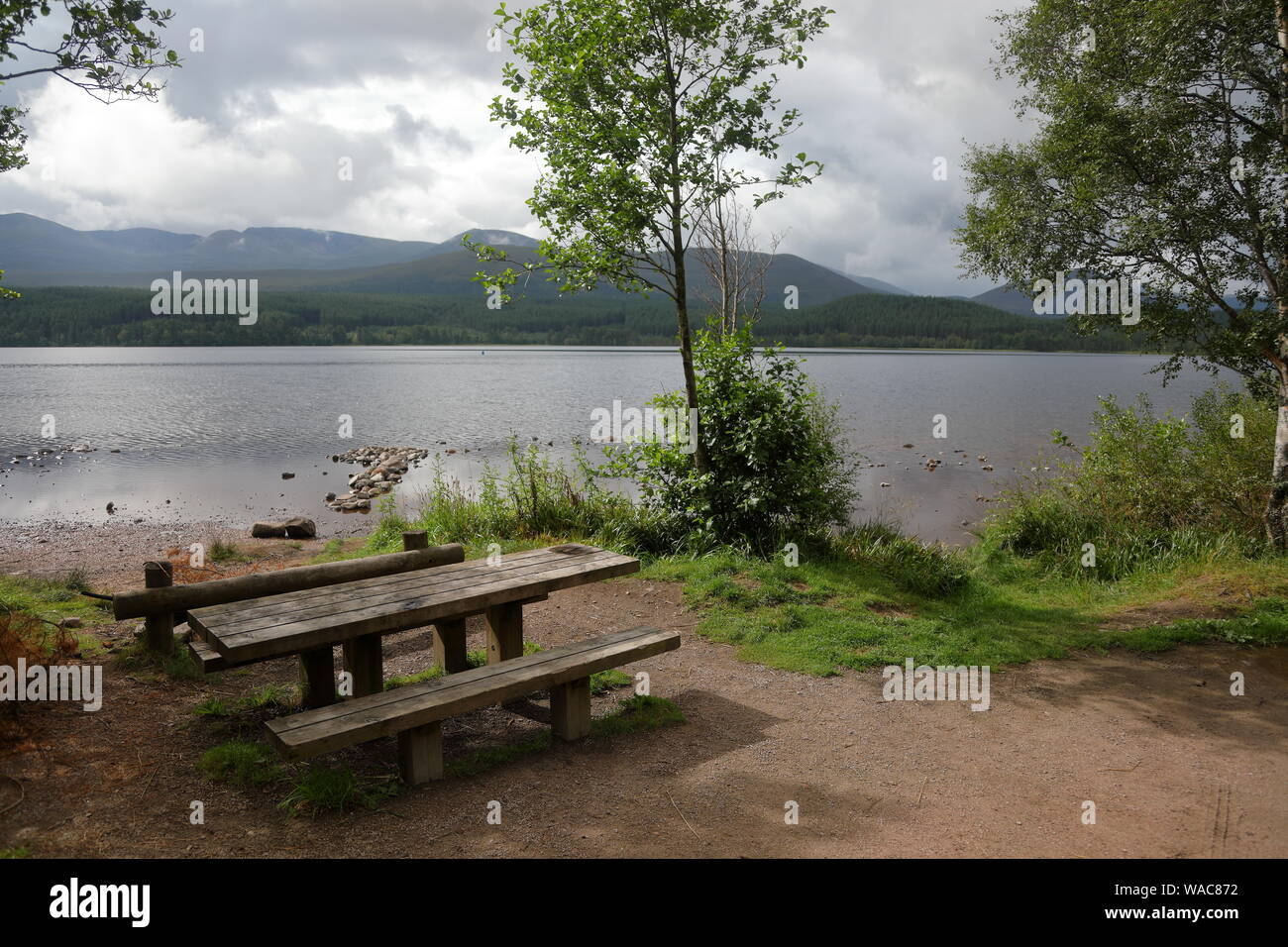 Loch Morlich at the base of the Cairngorms, Scotland, UK. Stock Photo