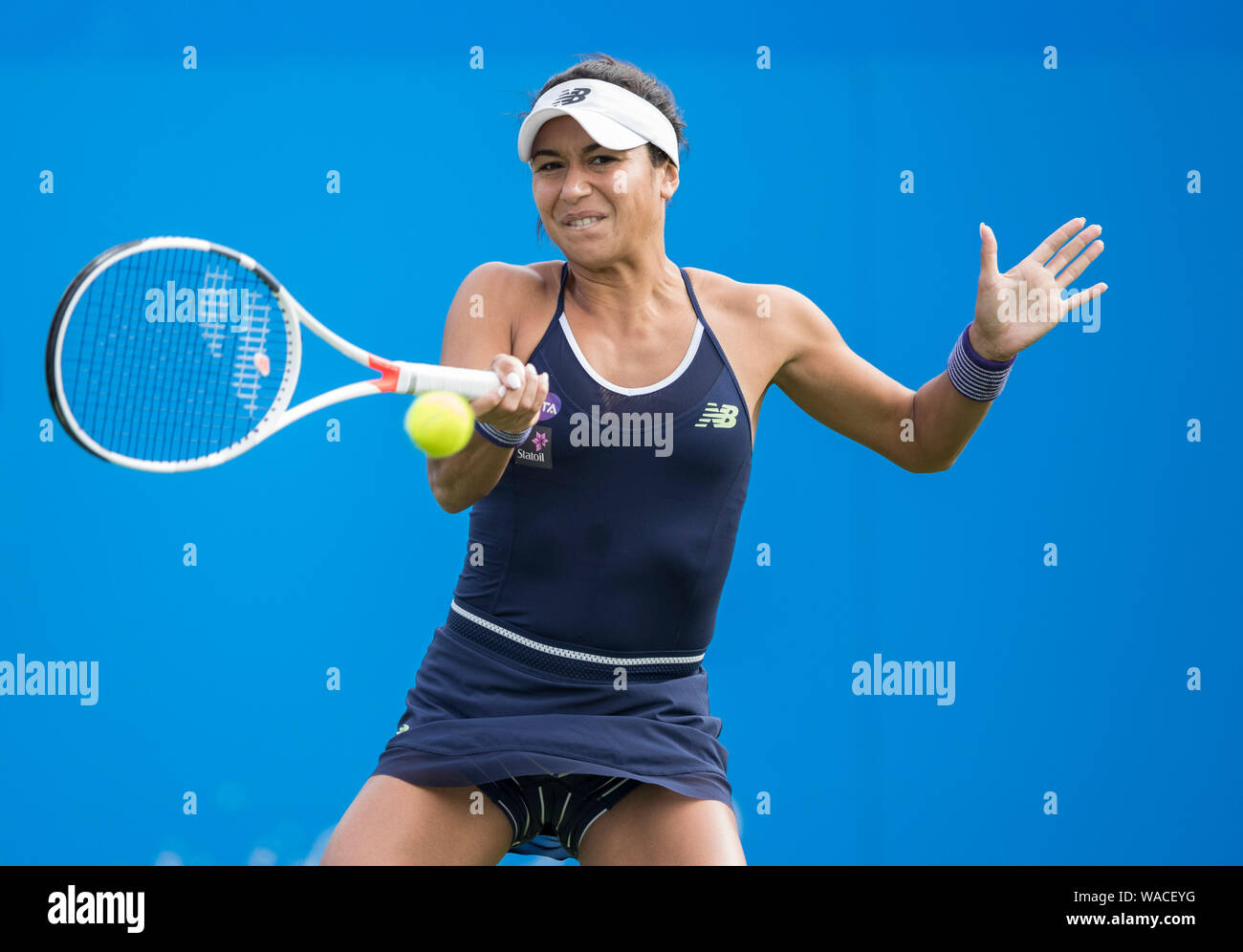 Aegon International 2016, Eastbourne, England -  Heather Watson of GBR playing single handed forehand against Elena Vesnina of Russia. Monday, 20, Jun Stock Photo