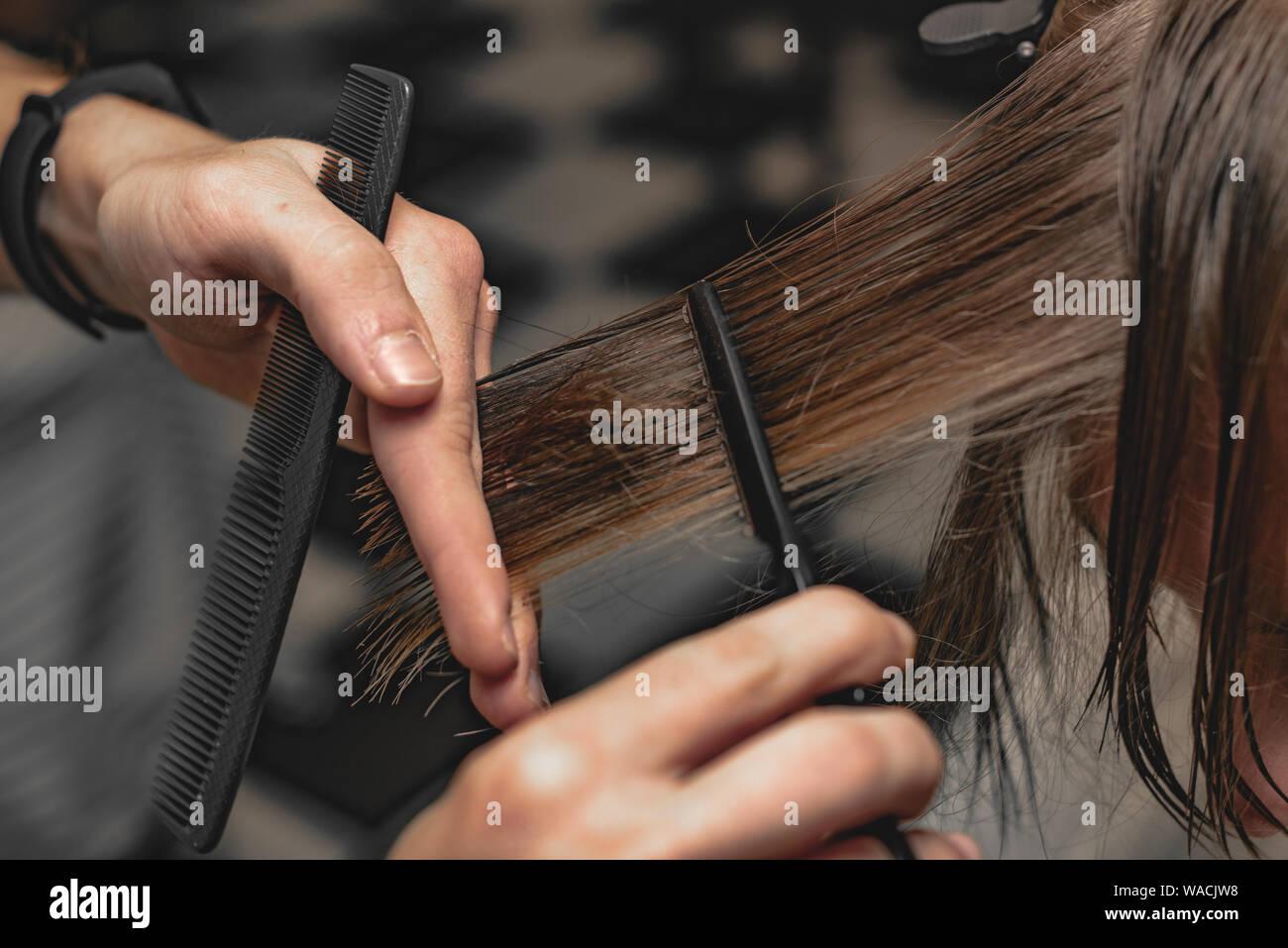 Woman Barber Shaving Man In Stock Photos & Woman Barber
