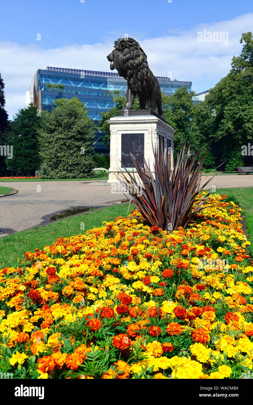 The Maiwand Lion sculpture stands in the centre of the public Forbury Gardens in Reading, Berkshire, England, UK Stock Photo