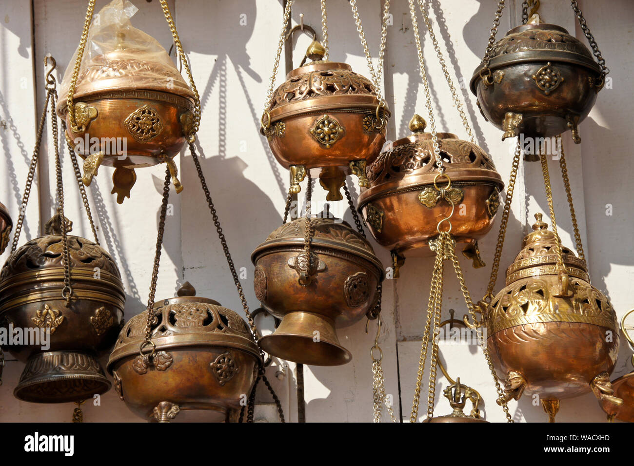 Tibetan Buddhist Hanging Incense Burners For Sale In Shop At Boudhanath Kathmandu Valley Nepal Stock Photo Alamy