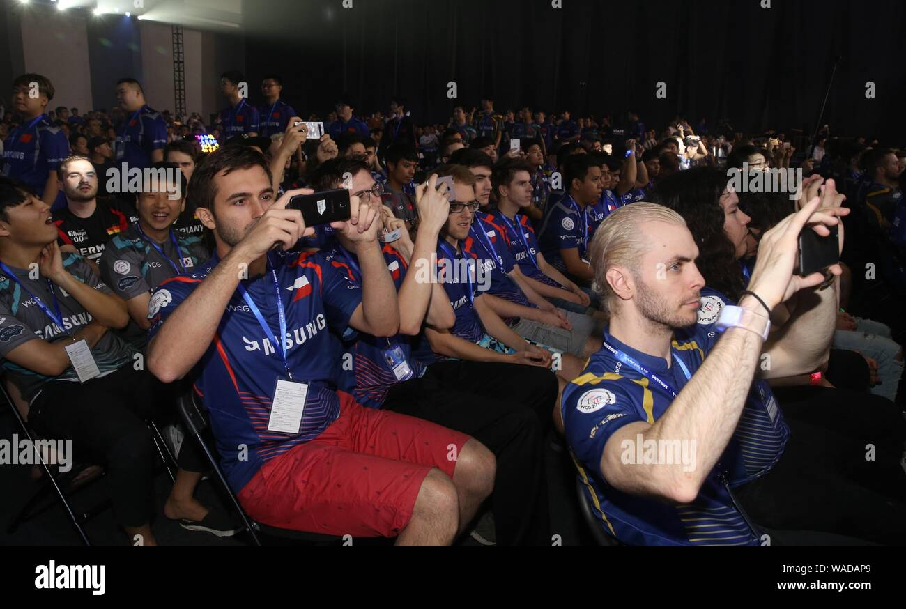 Participants pose before competing in the e-sports games