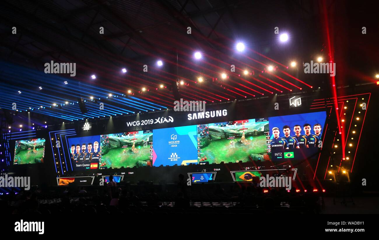 Participants compete in the e-sports games during the WCG