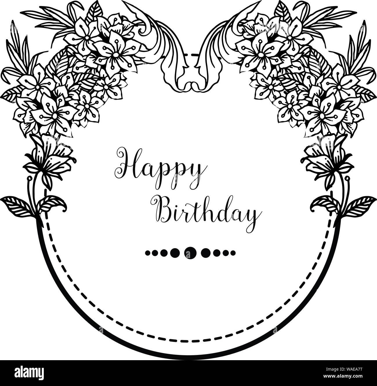 Pleasing Drawing Beautiful Leaves And Flower Style Frame Unique Ornate Of Personalised Birthday Cards Bromeletsinfo
