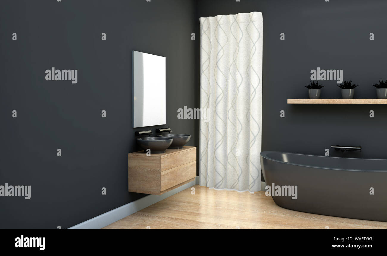 An Interior Of A Bathroom With Dark Grey Walls A Modern Bath Tub And Wooden Reflective Floors 3d Render Stock Photo Alamy