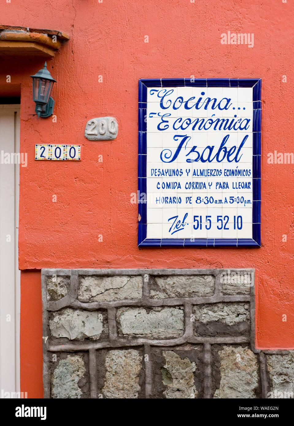 Mexican Restaurant Sign Oaxaca City Oaxaca Mexico Local Dining