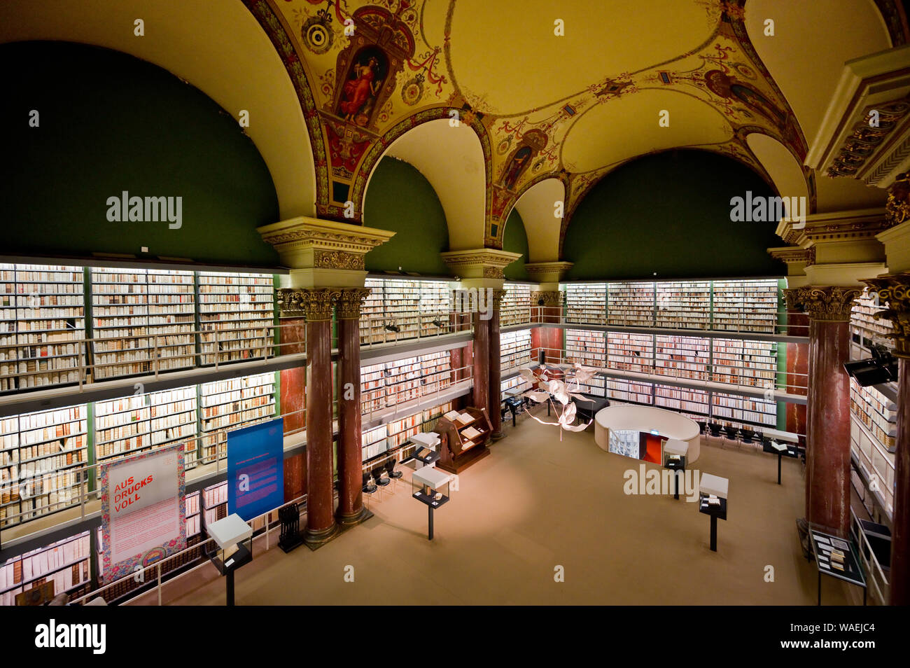 13 August 2019, Lower Saxony, Wolfenbüttel: Precious books can be found in the Herzog August Library. Photo: Julian Stratenschulte/dpa Stock Photo
