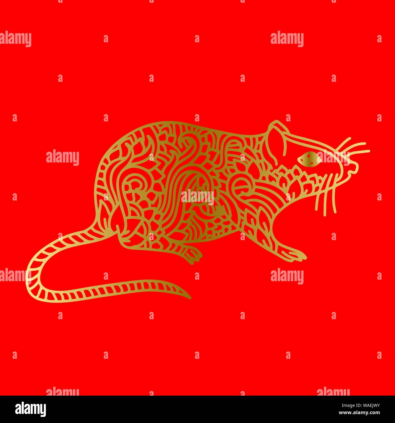 Rat Sign Chinese Happy New Year 2020 Red And Golden