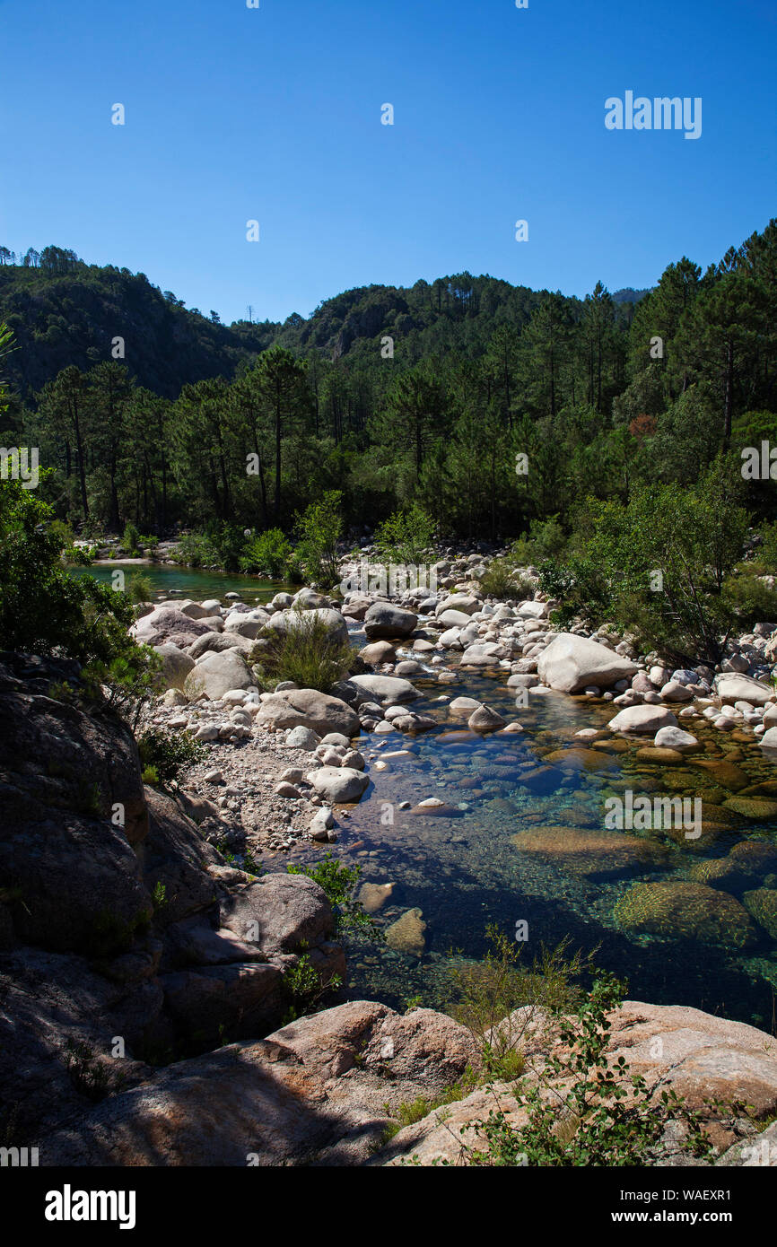 Solenzara River, Regional Natural Park of Corsica, France, July 2018 Stock Photo