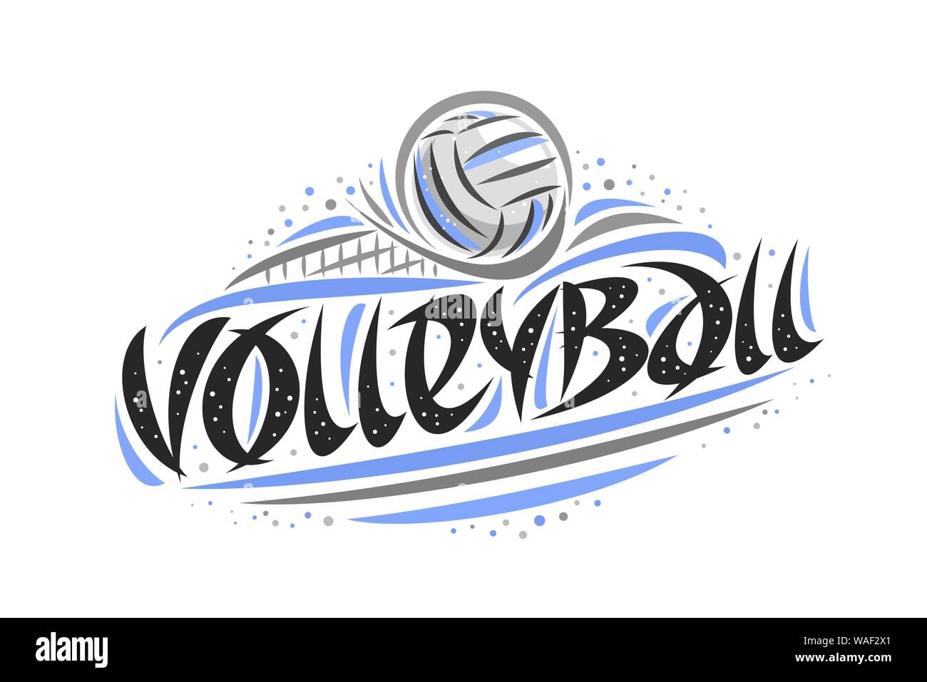 Vector Logo For Volleyball Outline Illustration Of Thrown Ball In