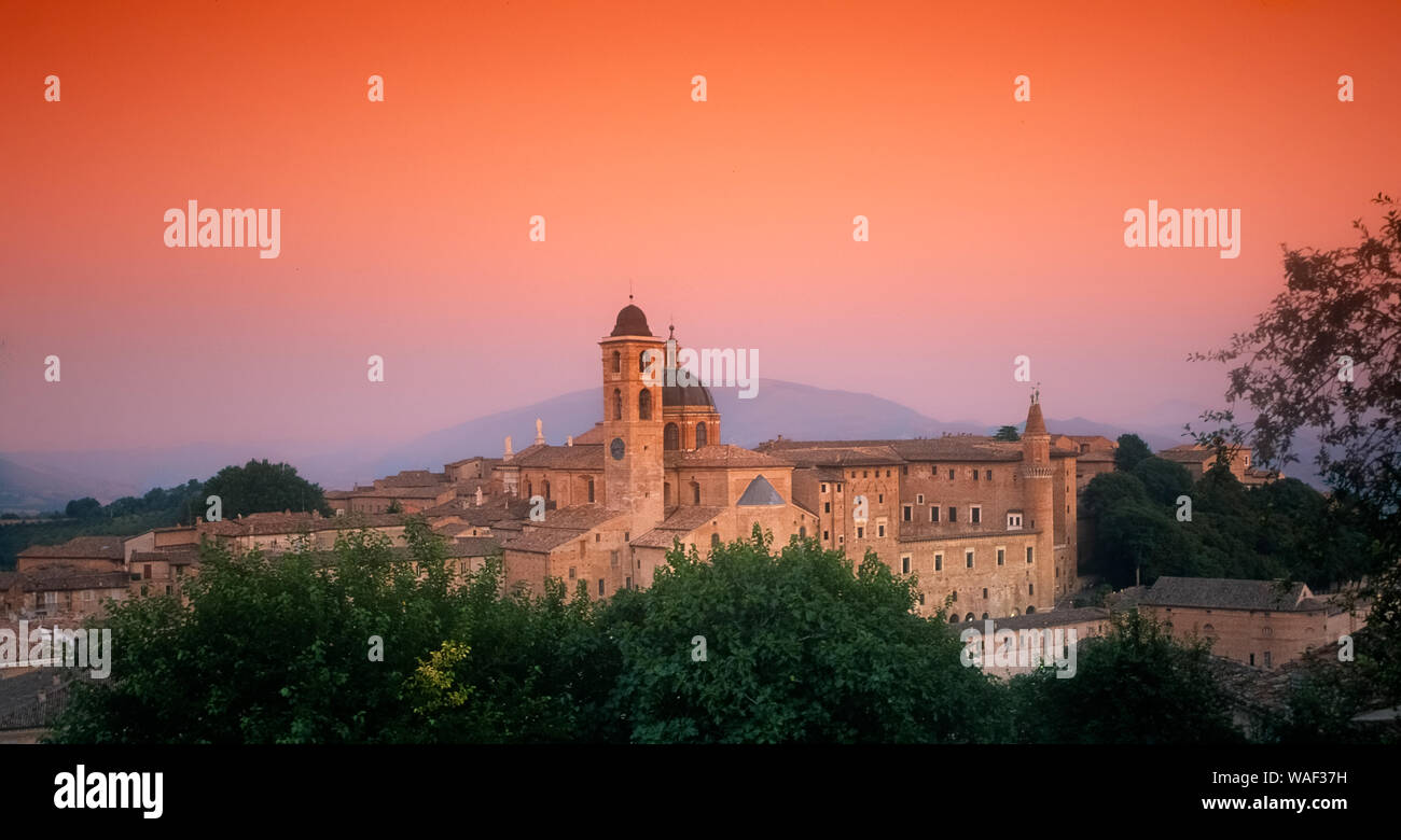 Italy marche Urbino - Panorama with Cathedral and Ducal palace Stock Photo