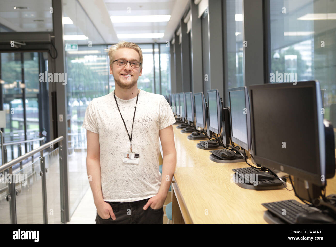 A Level Results, Rochdale 6th Form, Rochdale, UK.  John Mullen who gained MAths A* Further MAths A* (achieved in one year of study) Computer Scien A Physics C  John will go onto study Maths at Manchester University Stock Photo