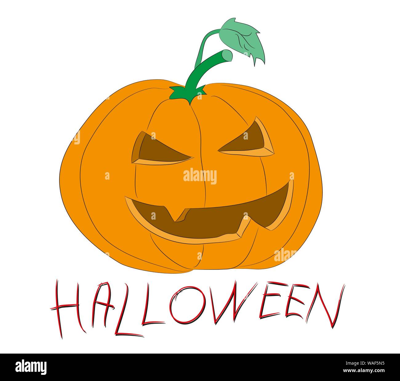 halloween pumpkin drawing color, vector, white background