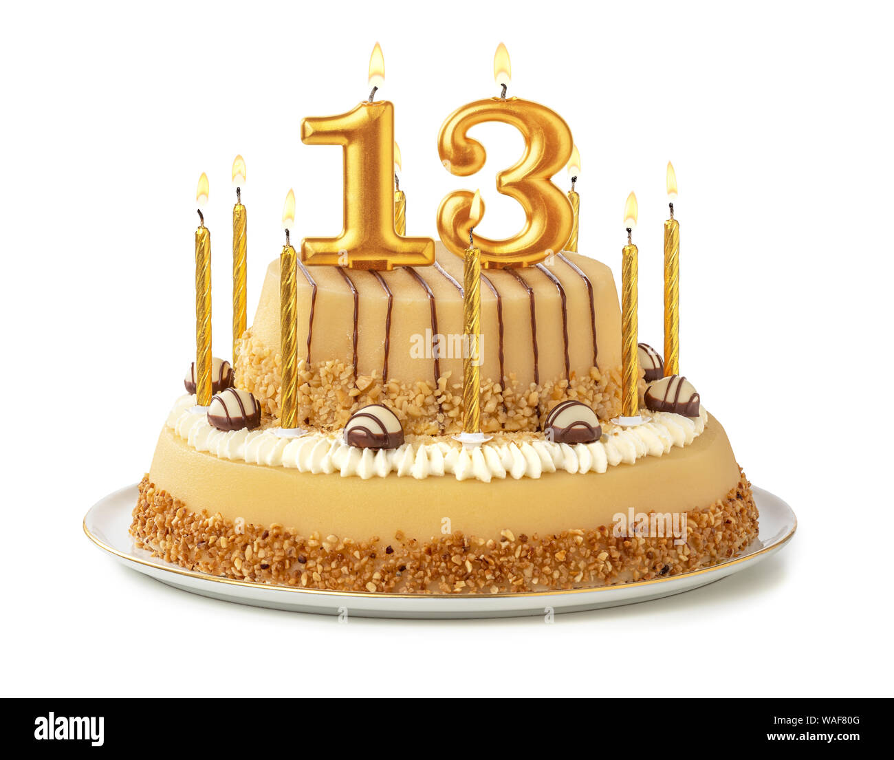Fine Festive Cake With Golden Candles Number 13 Stock Photo Funny Birthday Cards Online Elaedamsfinfo