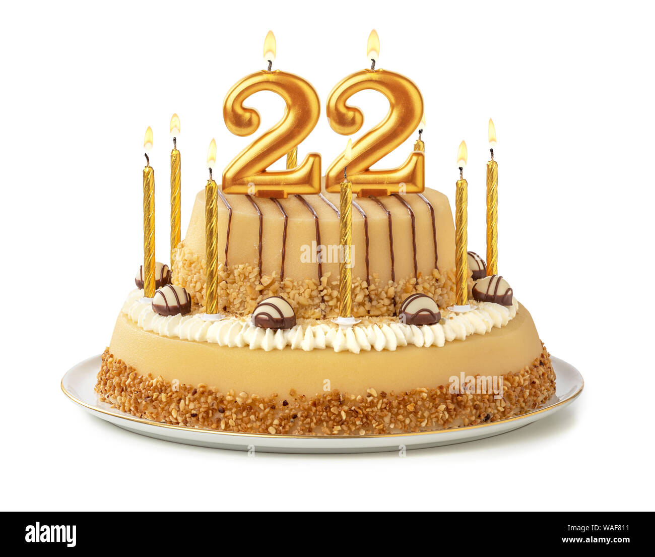 Admirable Festive Cake With Golden Candles Number 22 Stock Photo Personalised Birthday Cards Akebfashionlily Jamesorg