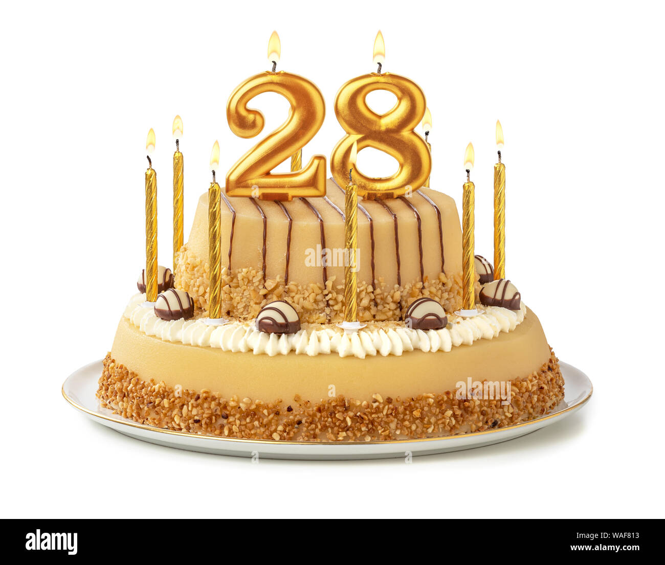 Sensational Festive Cake With Golden Candles Number 28 Stock Photo Personalised Birthday Cards Paralily Jamesorg