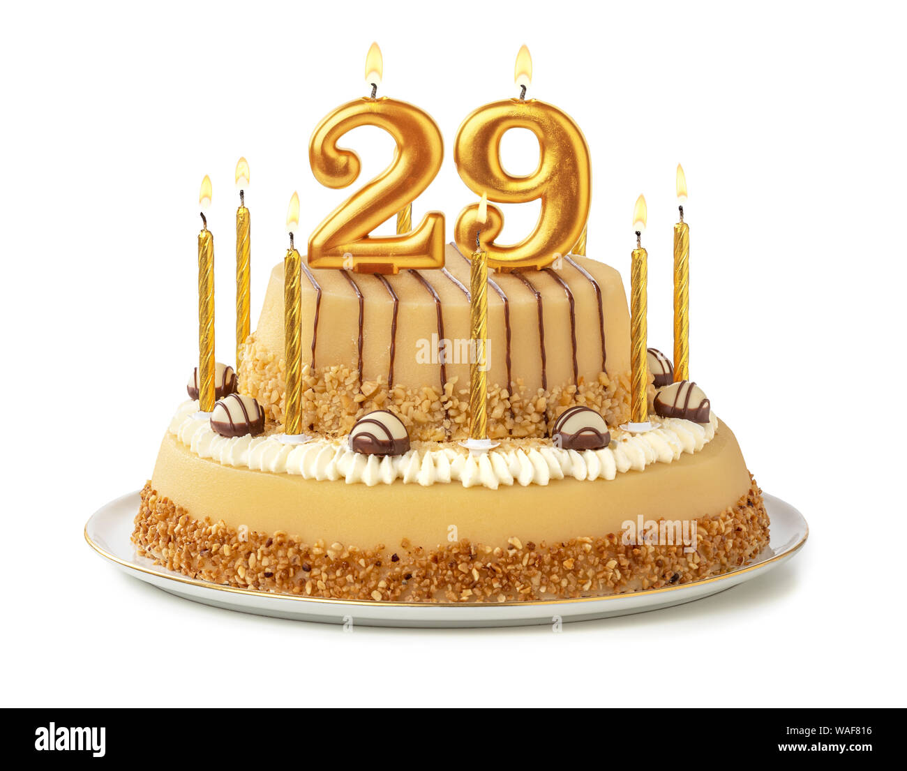 Cool Festive Cake With Golden Candles Number 29 Stock Photo Personalised Birthday Cards Arneslily Jamesorg