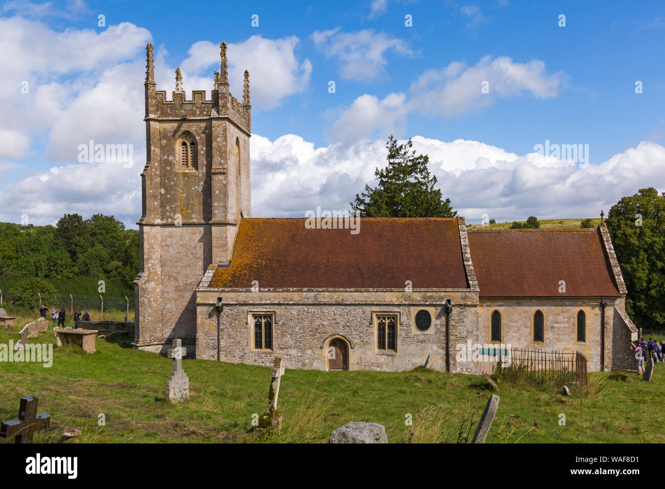 Imber Church, St Giles Church, on open day for visitors to see the deserted ghost village of Imber on Salisbury Plain, Wiltshire UK in August Stock Photo