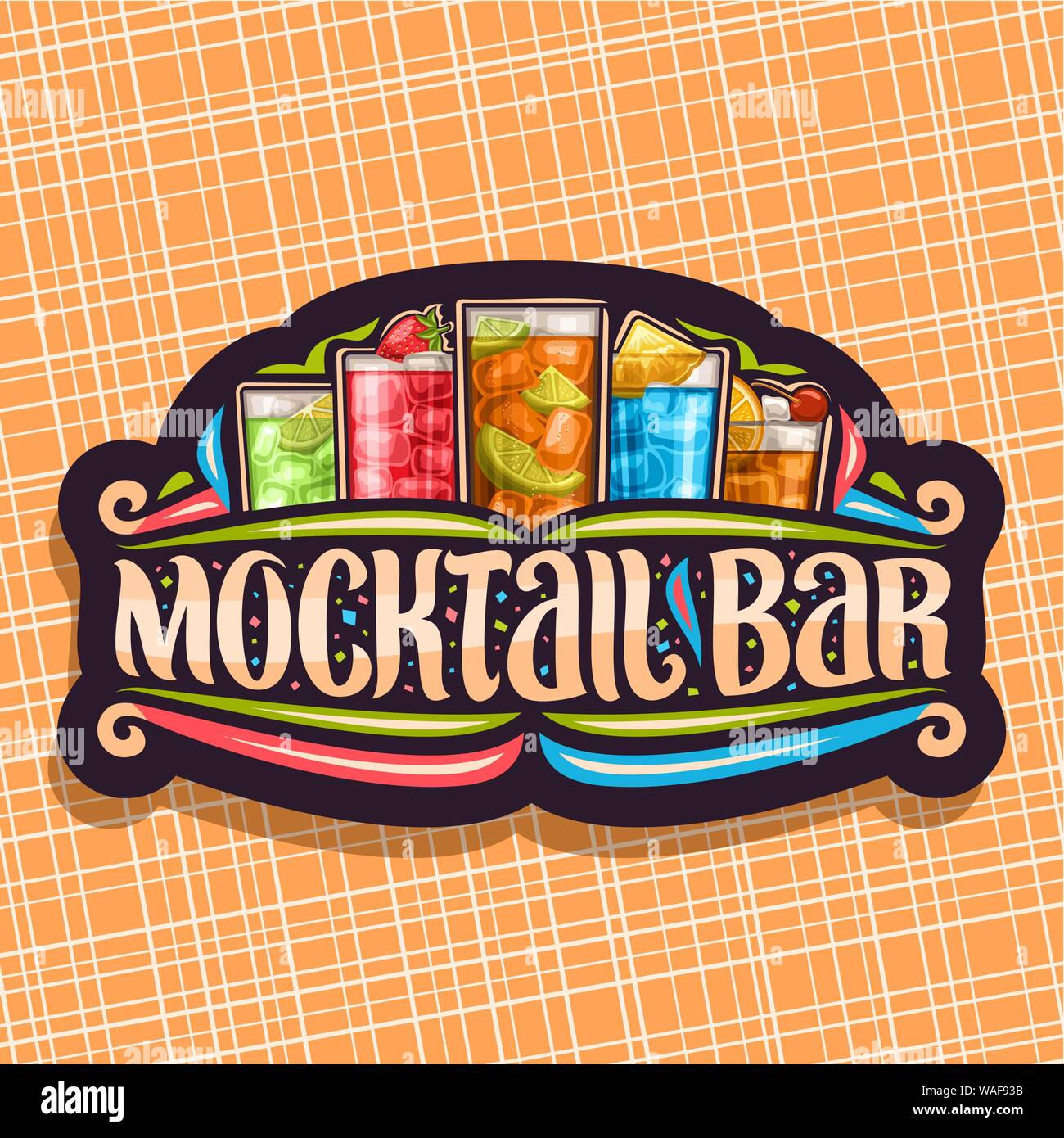 Vector logo for Mocktail Bar, black sign board with 5 cool non alcoholic drinks, original lettering for words mocktail bar, chilled alcohol free soft Stock Vector