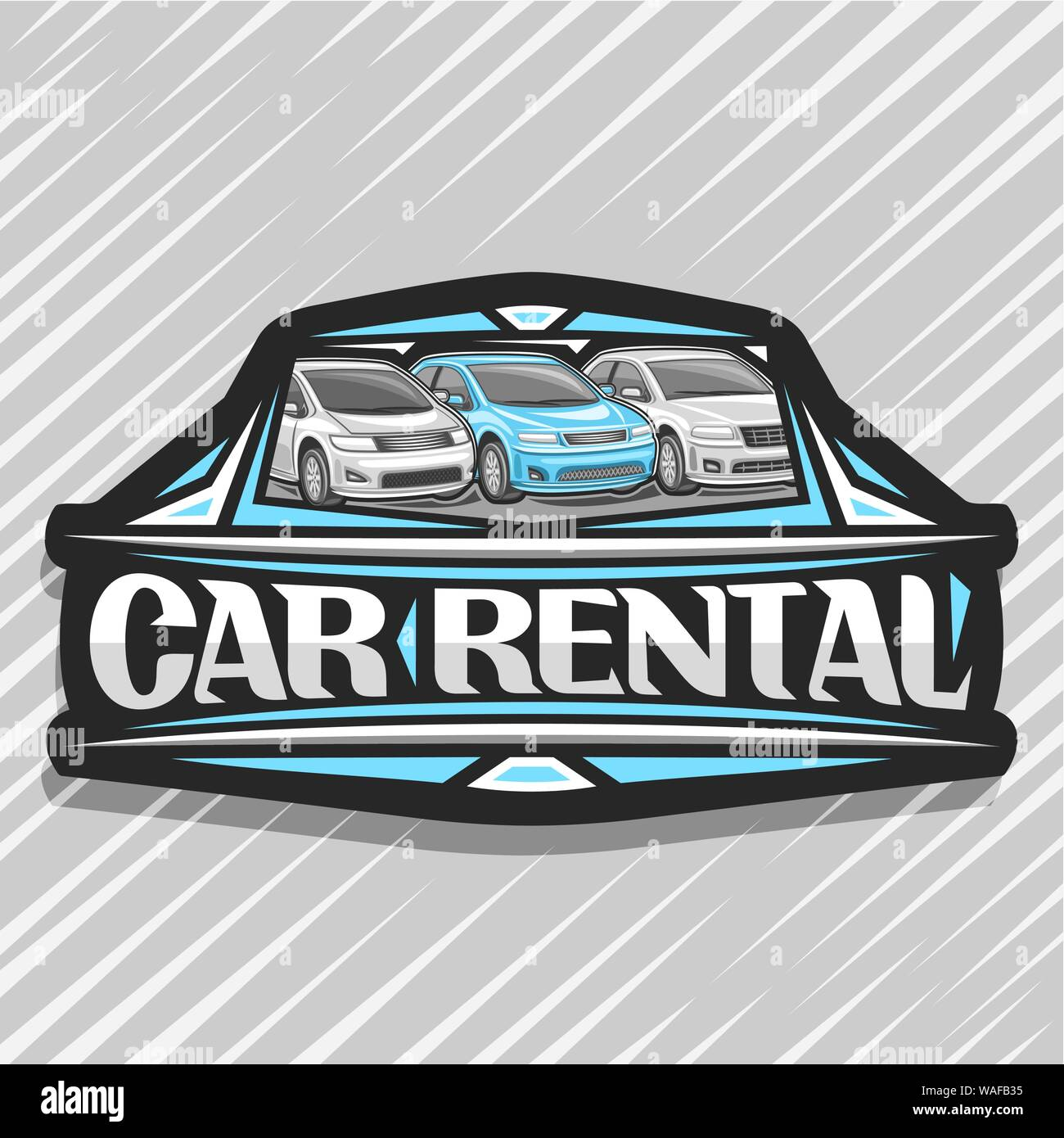 Vector Logo For Car Rental Black Decorative Sticker With 3 Cartoon Different Automobiles In A Row Lettering For Words Car Rental Automotive Sign Bo Stock Vector Image Art Alamy