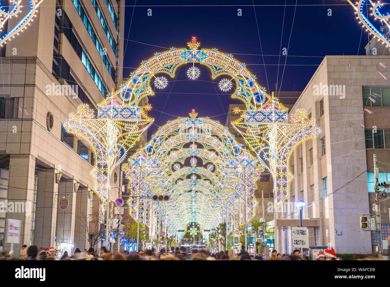 KOBE, JAPAN - DECEMBER 12, 2012: Luminarie light festival. The annual festival remembers the 1995 Great Hanshin Earthquake and the subsequent revival Stock Photo