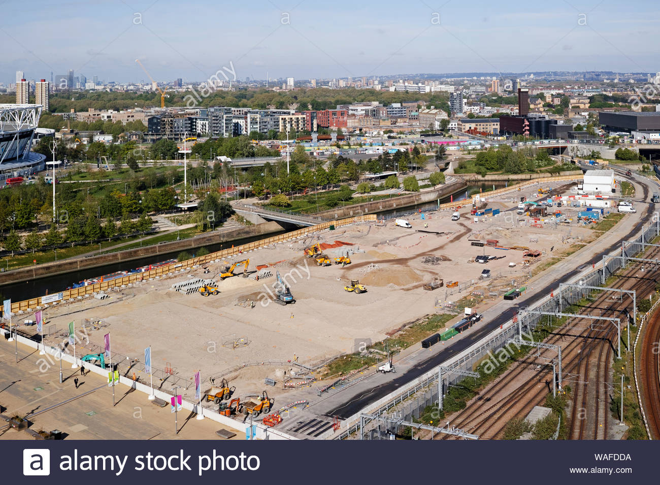 Construction work on the East Bank cultural and education quarter within the Olympic Park: Stratford, London. Stock Photo