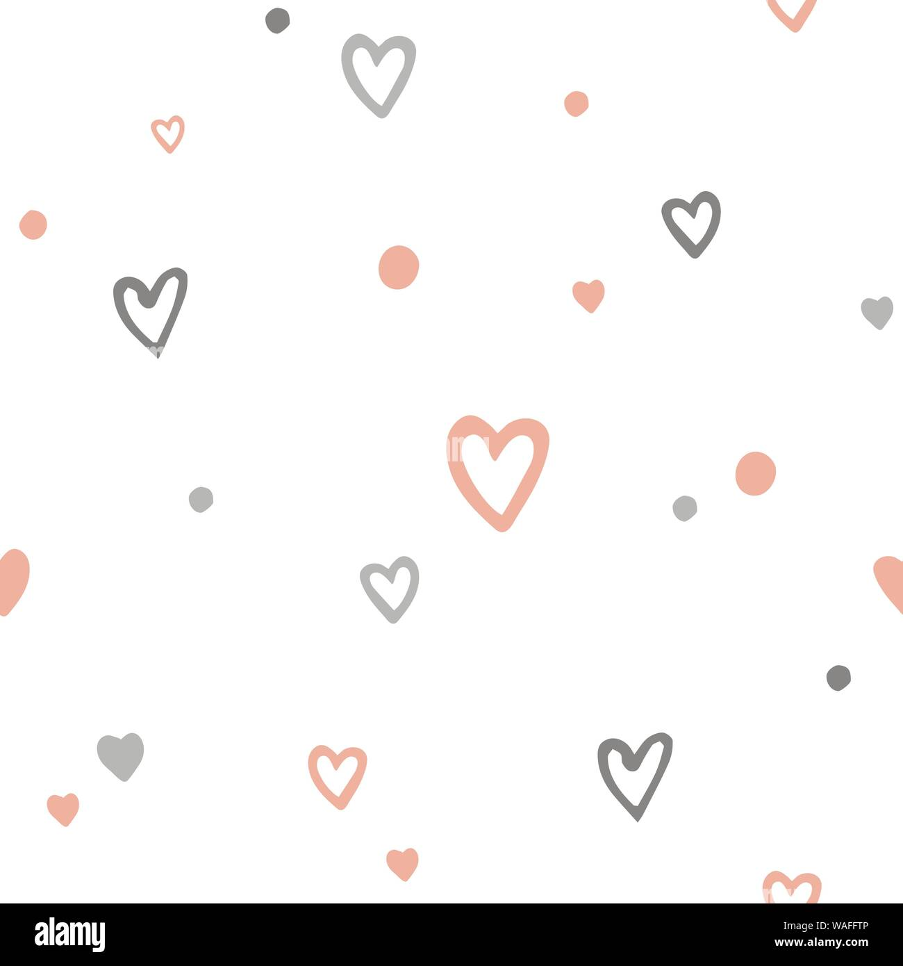 Vector Cute Romantic Seamless Pattern With Doodle Cartoon