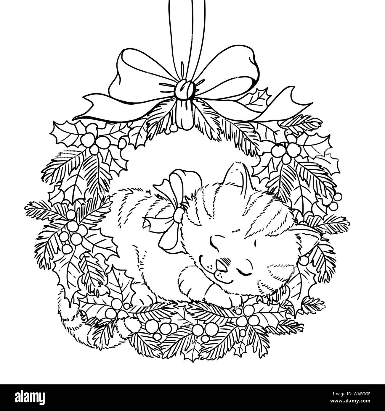 Christmas Wreath Coloring Page Doodle Pattern With Cute Sleeping Kitten And A Bow Stock Photo Alamy