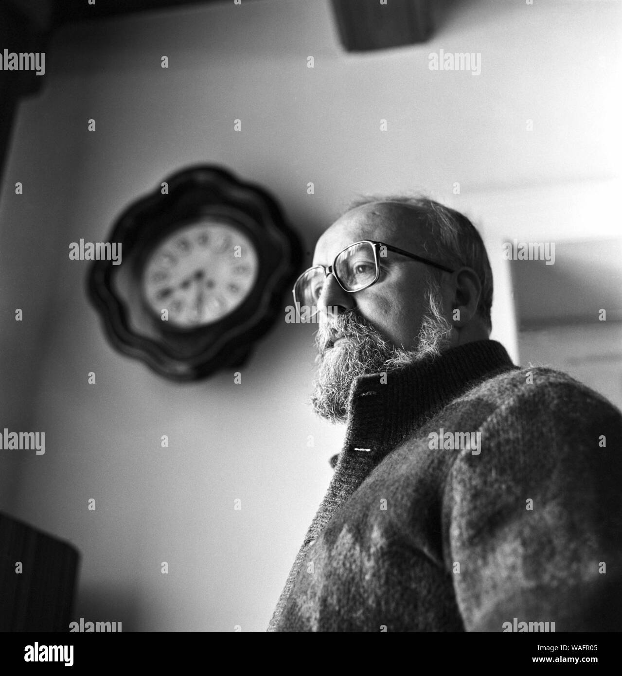 Luslawice 17.02.1987. Krzysztof Penderecki in his home in Debica. Born in 1933, he was a world famous composer and conductor. He studied at the Music Academy in Cracow, and worked as a professor and principal at the same institution. He was director of the Cracow Philharmonia from 1987-1990, from 1993 he was the artistic director of the Casal festival in San Juan in Puerto Rico. From 1997, he was the musical director of the Warsaw Philharmonia and received the following awards: National award, (1968, 1983), Polish Composers Union (1970), Grammy Award (1988, 1999, 2001), International Music Cou Stock Photo