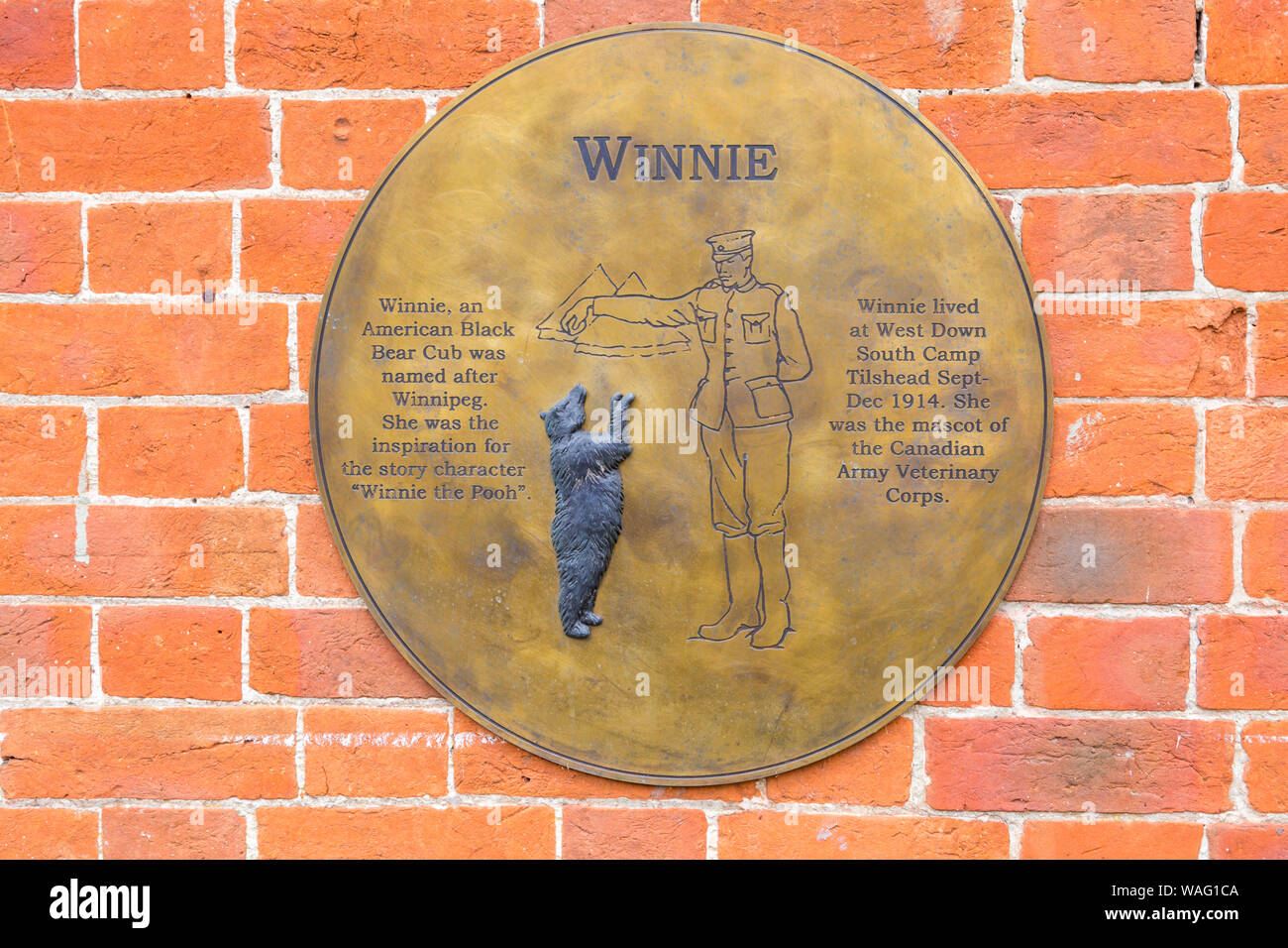 Winnie plaque on wall of Tilshead Village Hall at Tilshead, near Salisbury, Wiltshire UK in August Stock Photo