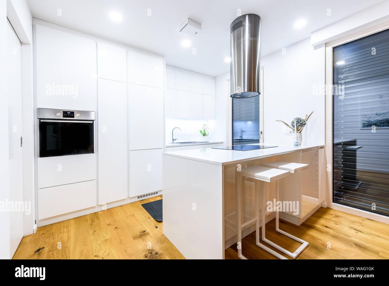 Interior design new modern white kitchen with kitchen ...