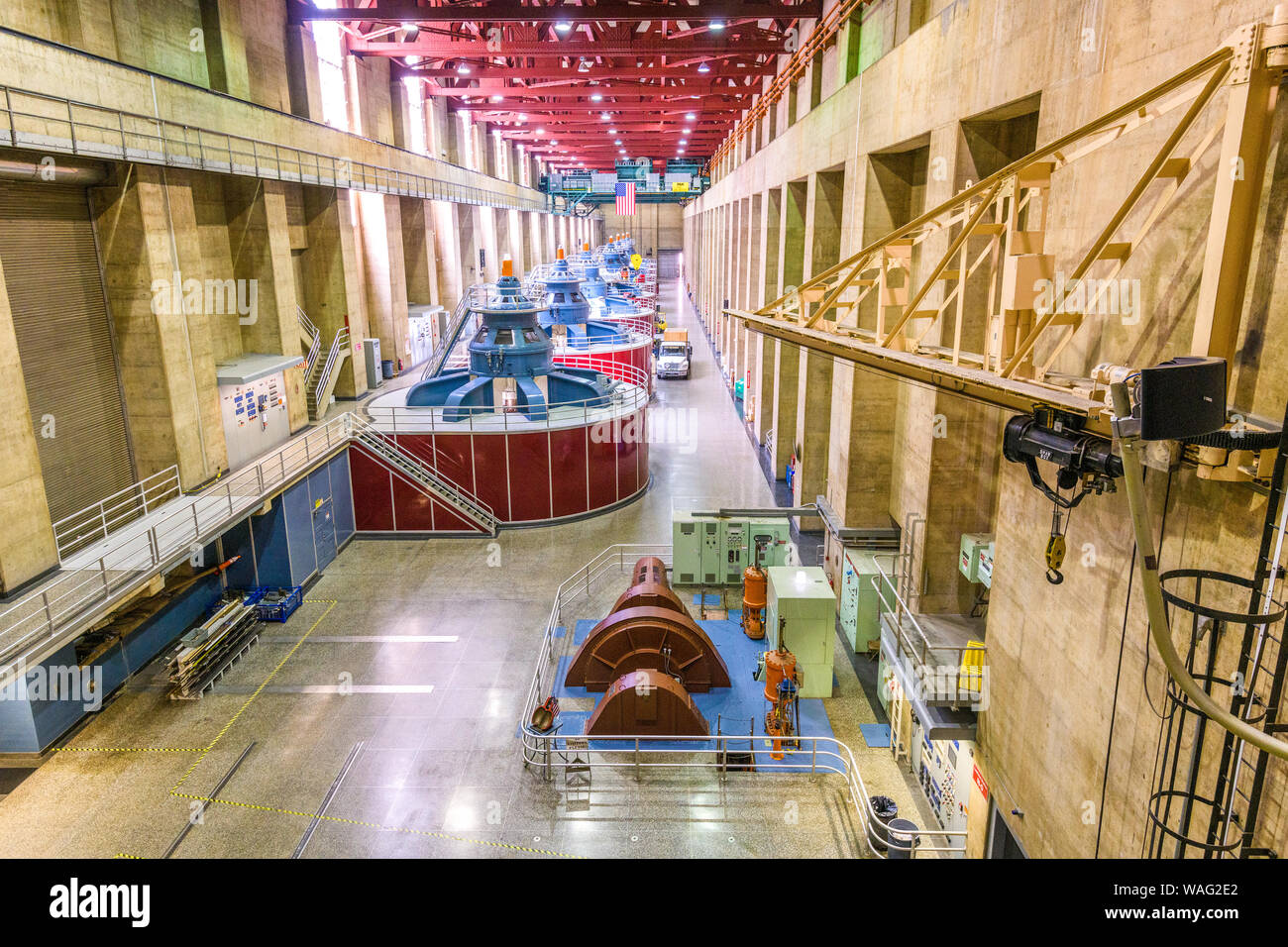 HOOVER DAM, ARIZONA - MAY 12, 2019: Generators of the Hoover Dam Power Plant. The dam was opened in 1936 amidst the Great Depression. Stock Photo