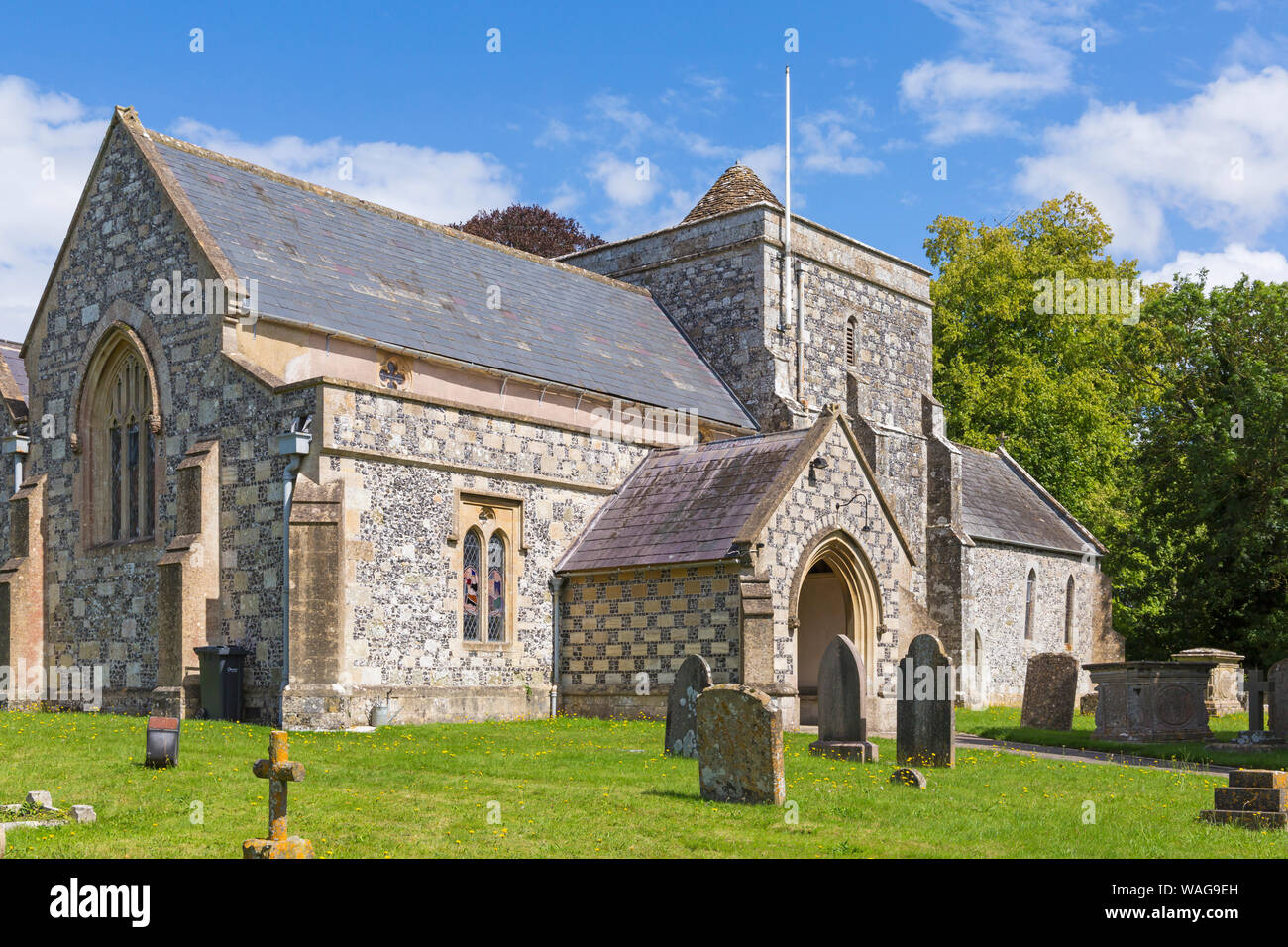 St Thomas a Becket church at Tilshead, near Salisbury, Wiltshire UK on a warm sunny day in August Stock Photo