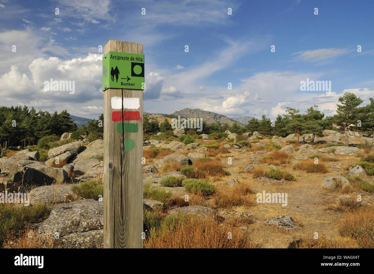 A signpost marking the Civil War bunker itinerary. La Sevillana Hill, Community of Madrid. Stock Photo