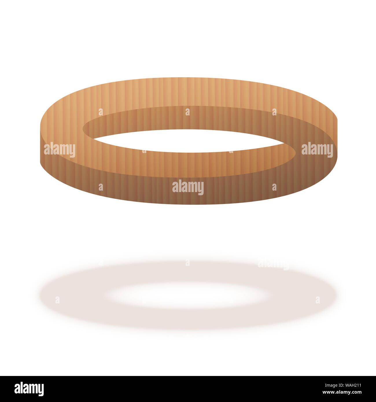 Impossible figure. Optical illusion with wooden ring. The left part is correct, the right part is correct, but both together are impossible. Stock Photo