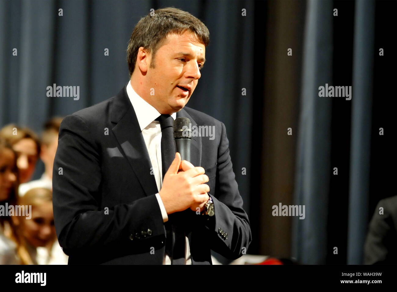 Matteo Renzi for a conference at the Royal Palace of Caserta Stock Photo