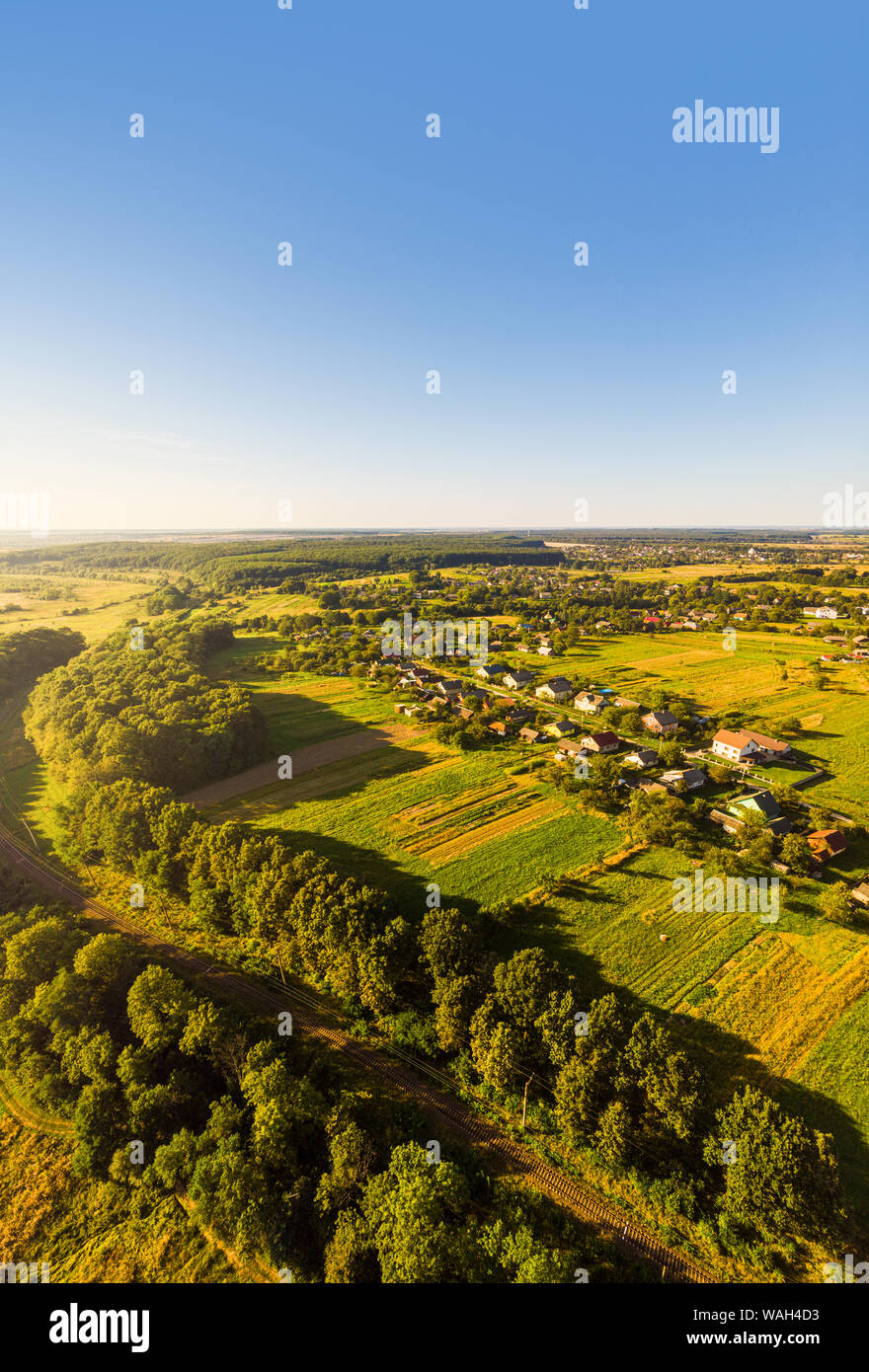 Aerial view of traditional village, Ukraine. Landscape of rural area, nature Stock Photo
