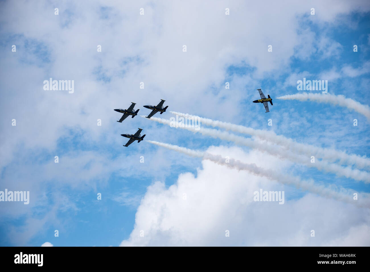 Breitling Jet Team during dynamic manoeuvre at airshow Stock Photo