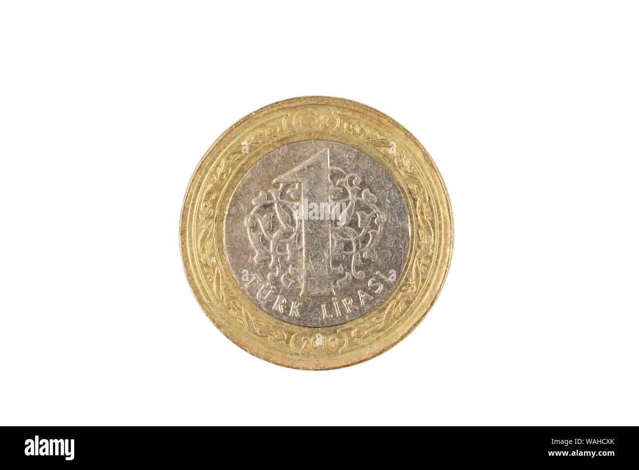 A bimettalic Turkish one lira coin isolated on a white background, shot in close up macro Stock Photo