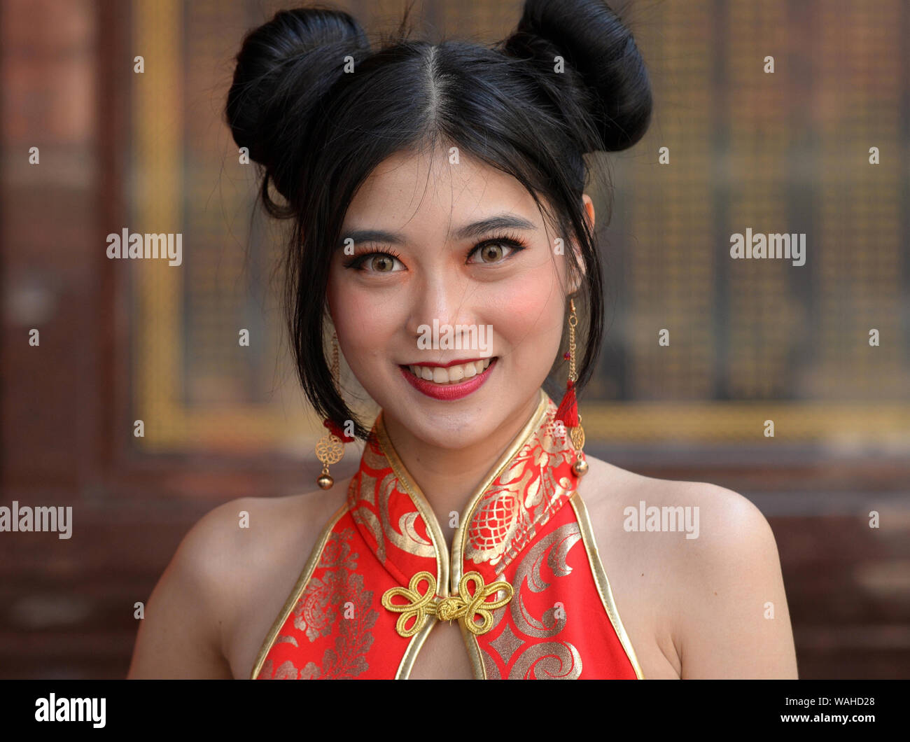 Cute Asian Woman Bun Hair Stock Photos Cute Asian Woman