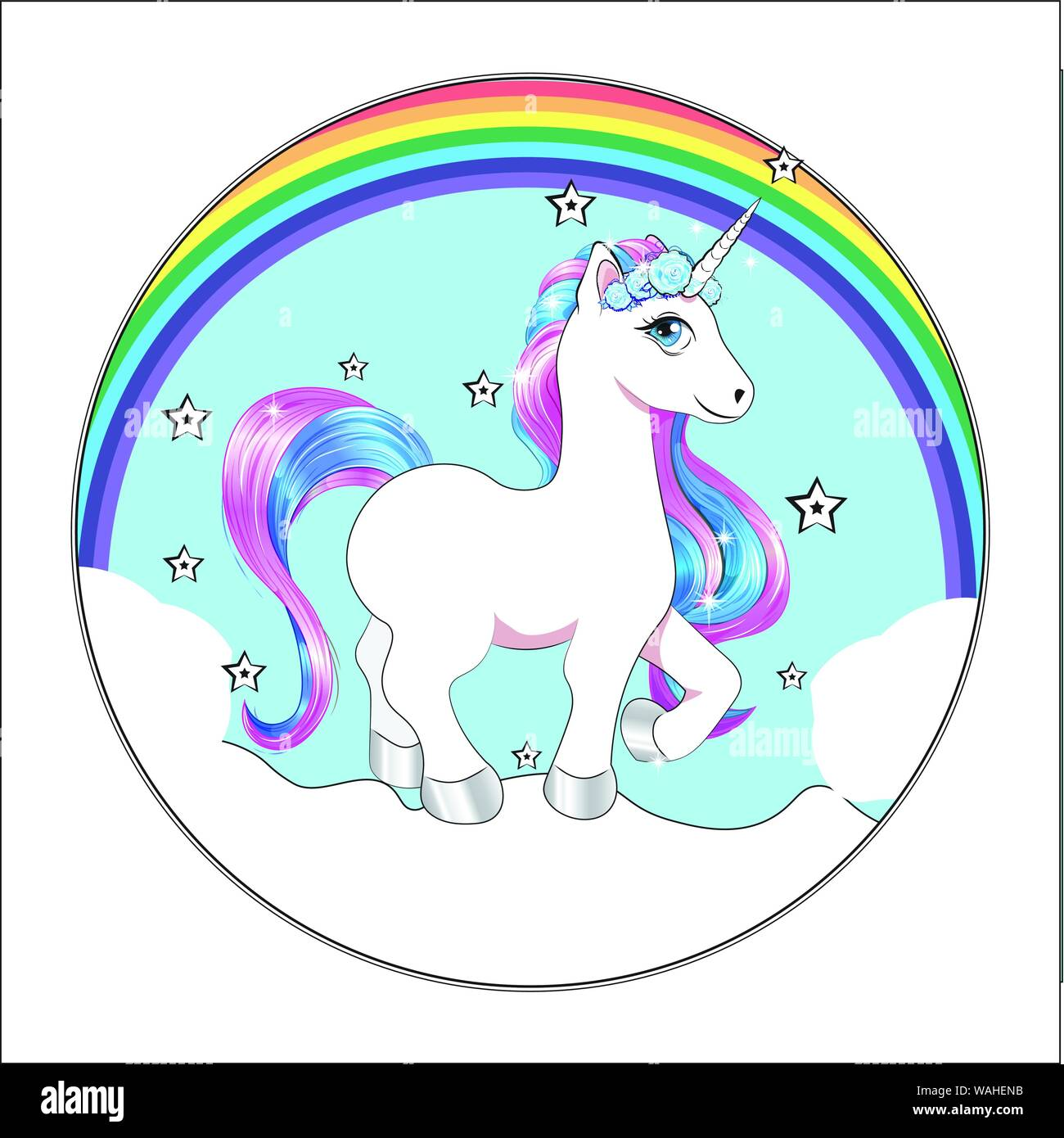 Funny Little Unicorn Pony With Pink And Blue Mane And Stars Unicorn Happy Birthday Card Cake Picture Stock Vector Image Art Alamy