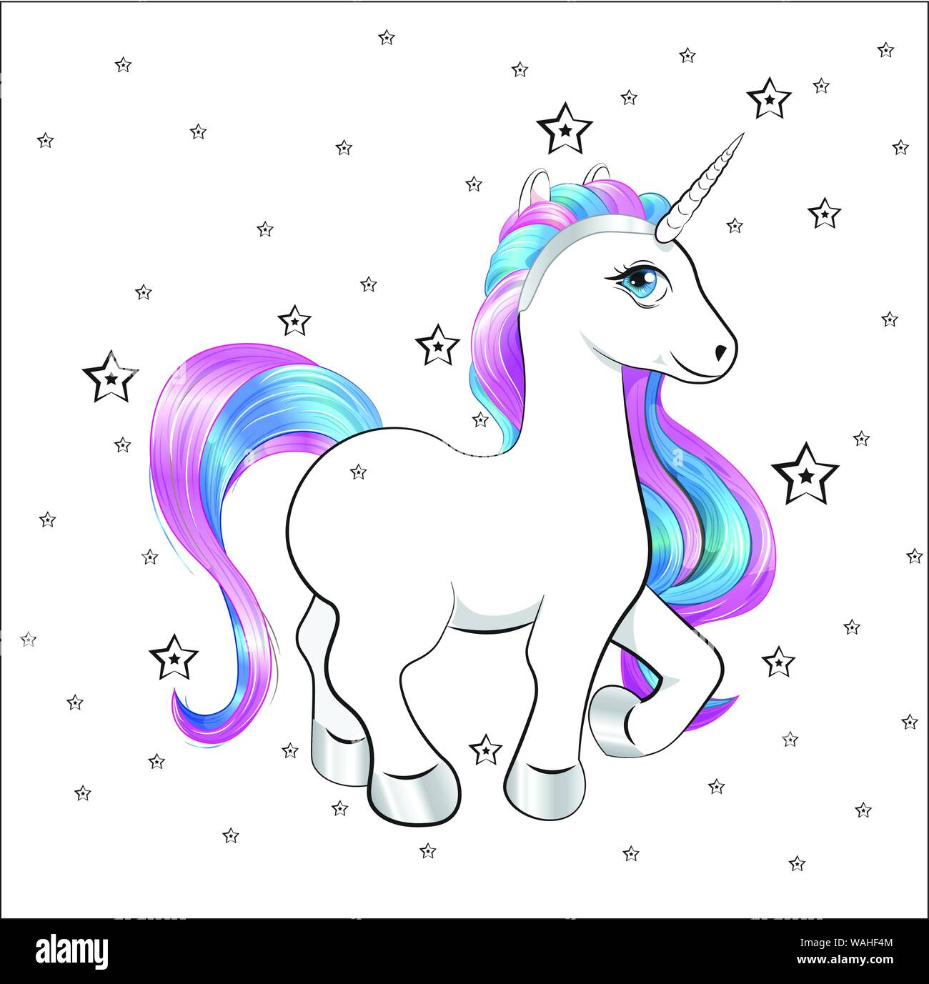 funny little unicorn pony with pink and blue mane, and stars, unicorn Happy birthday card Stock Vector