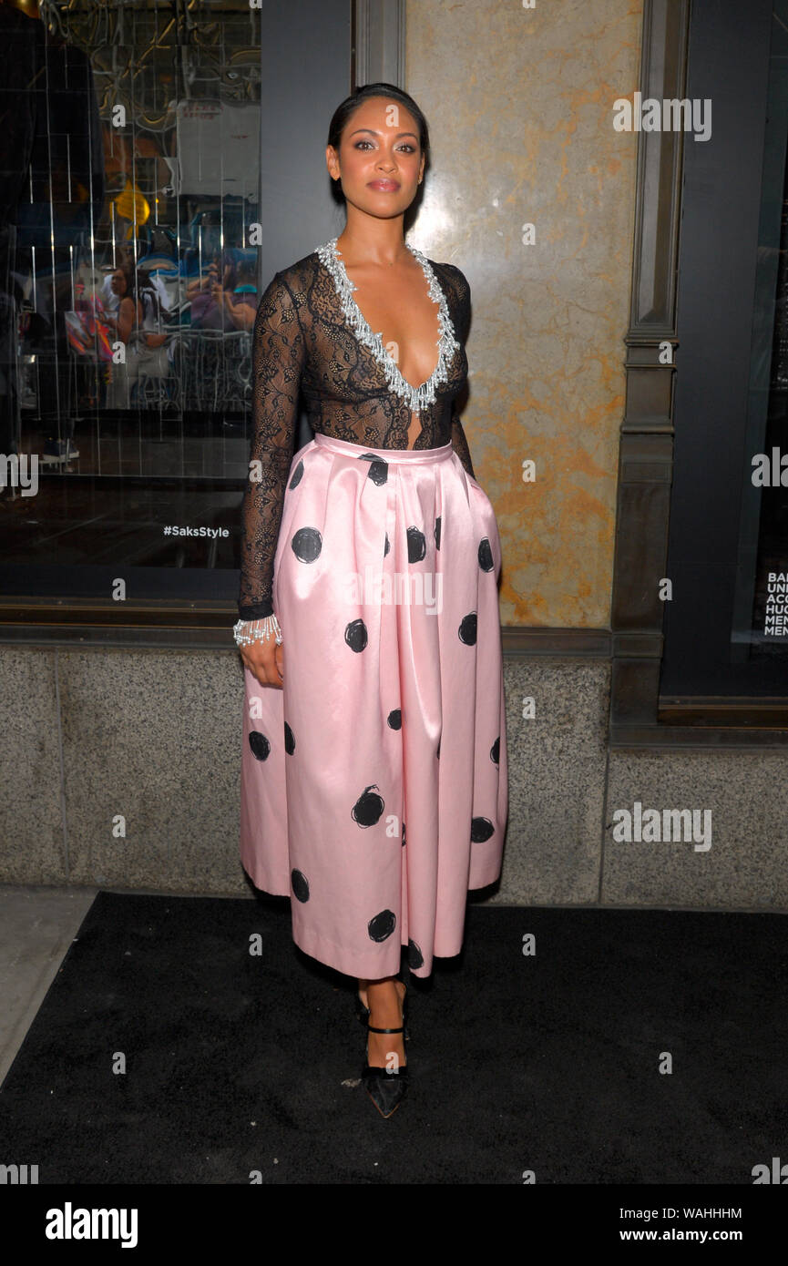 """NEW YORK, NY - AUGUST 19: Actress Cynthia Addai-Robinson attends as Saks Fifth Avenue and Starz celebrate the final season of """"Power"""" on August 19, 20 Stock Photo"""