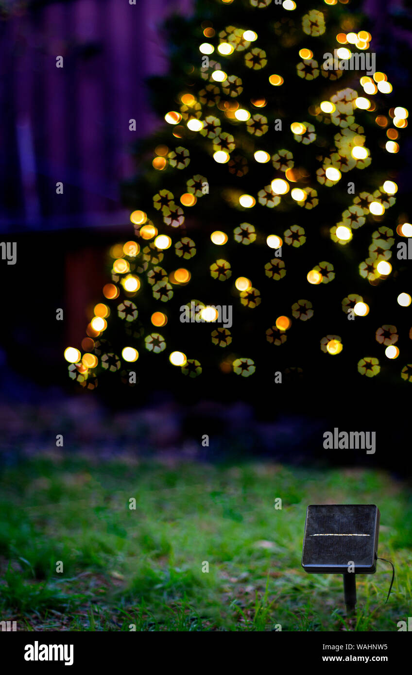 Picture of: A Solar Panel In Front Of A Christmas Tree With Solar Powered Christmas Lights At Dusk With Recycle Symbol Bokeh Sustainable Energy Living Concept Stock Photo Alamy