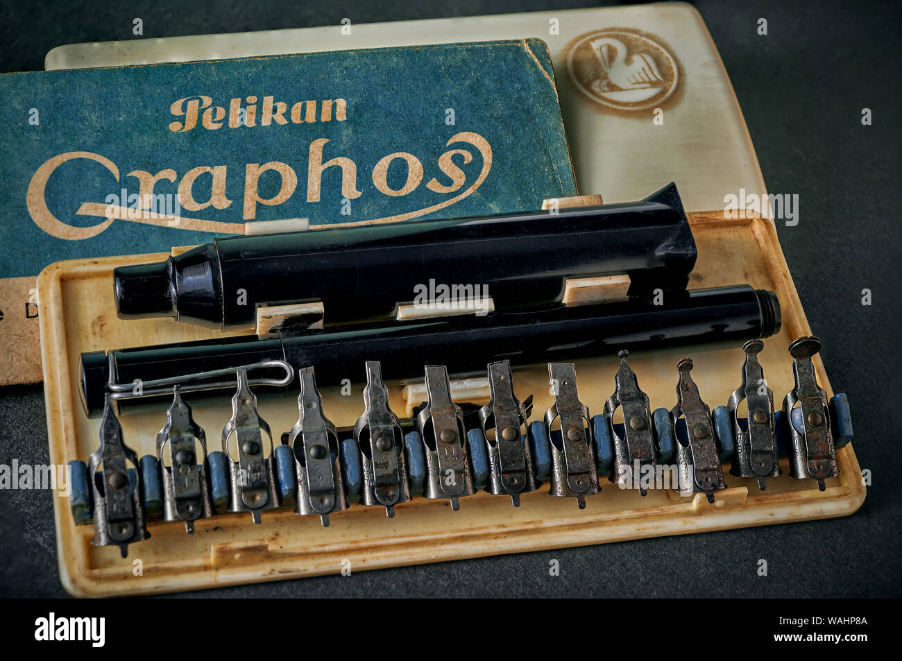 09 Aug 2016 Vintage Rare Pelikan Graphos Calligraphy Tools Pen Set 12 Nibs studio shot Kalyan Maharashtra India Stock Photo