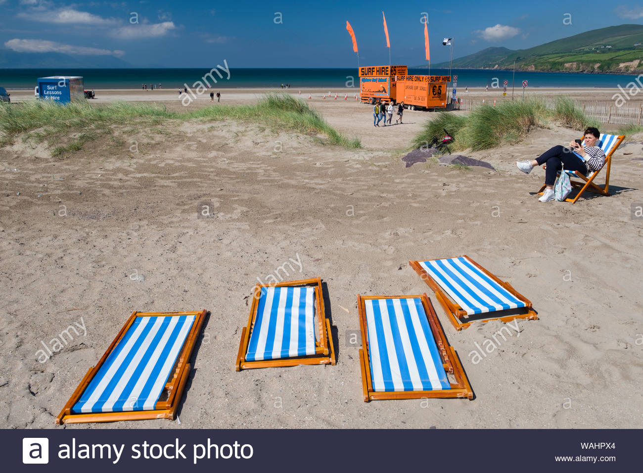 Terrific Blue And White Striped Folding Beach Chairs Collapsed On The Beatyapartments Chair Design Images Beatyapartmentscom