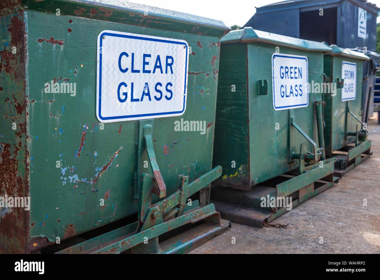 Glass recycling bins at the Snellville Recycling Center near Atlanta, Georgia. (USA) Stock Photo