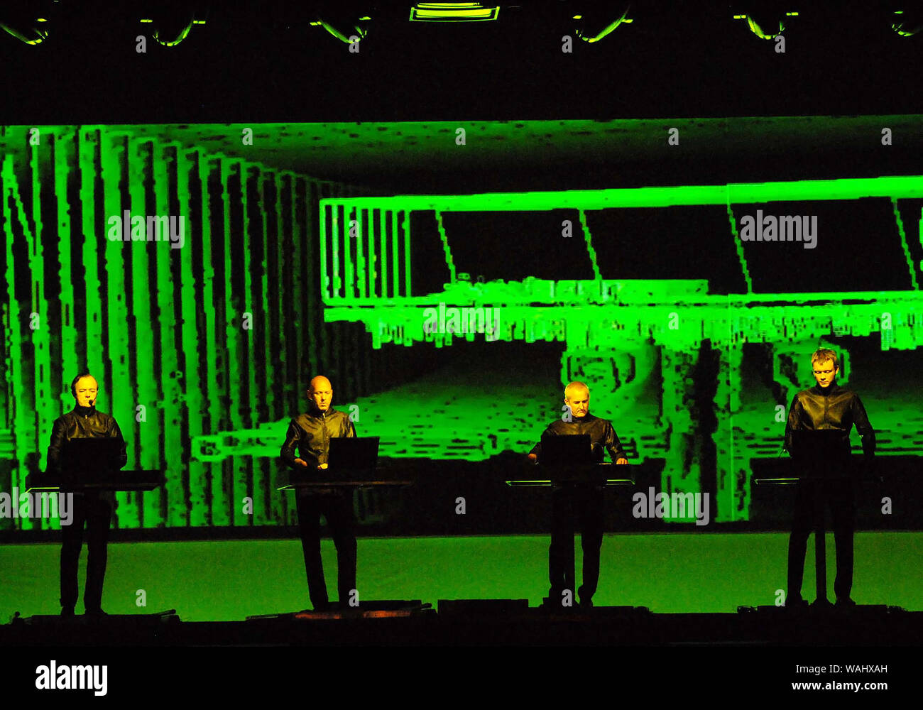 Rio de Janeiro, Brazil, March 20, 2009. Members of the German band Kraftwerk during their show in the Apoteose Square in the city of Rio de Janeiro. Stock Photo