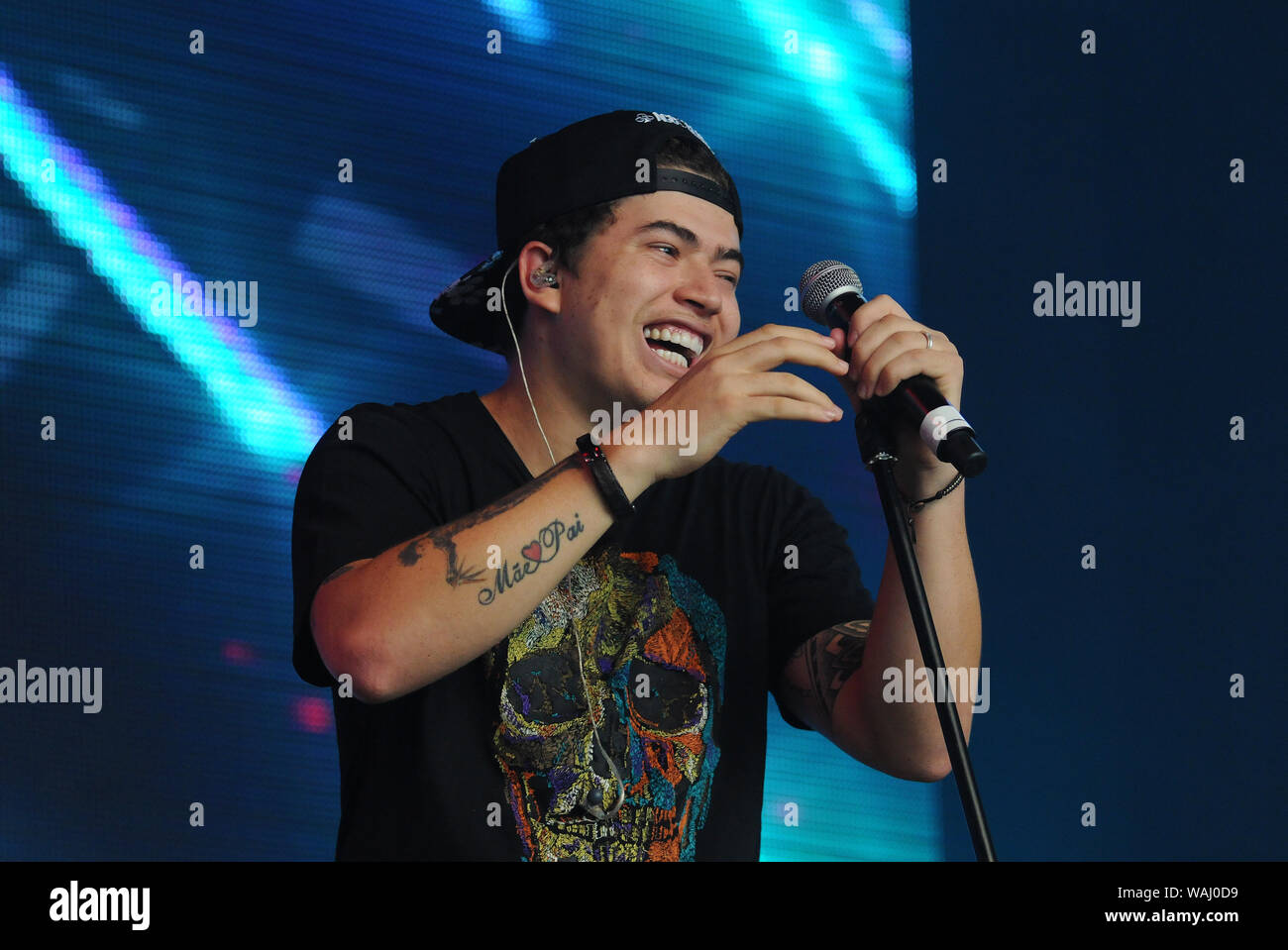 Rio de Janeiro, September 16, 2017. Whindersson Nunes, Brazil's most famous youtuber, during the performance of his show at Rock in Rio 2017, in the c Stock Photo
