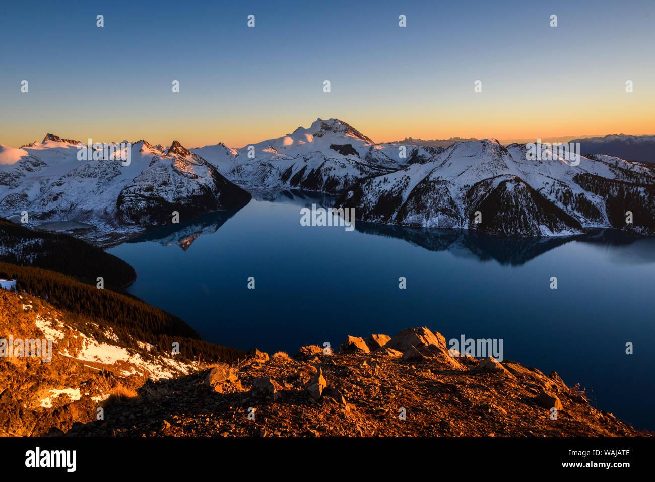 Canada, British Columbia, Garibaldi Provincial Park. Panorama Ridge at sunset. Stock Photo